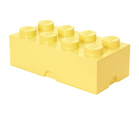 Kutija za pohranu s poklopcem Lego Rectangular Extra Light Yellow