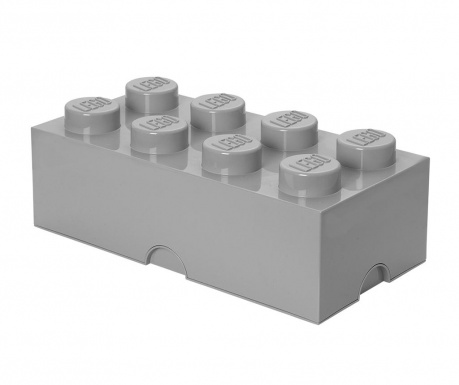 Kutija za pohranu s poklopcem Lego Rectangular Extra Light Grey