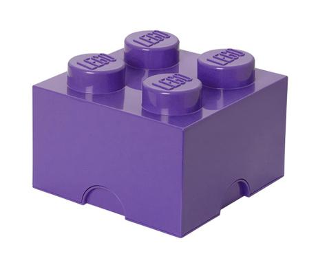 Kutija za pohranu s poklopcem Lego Square Four Liliac