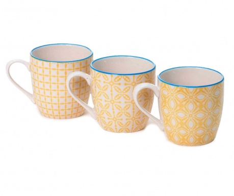 Set 3 cani Quatrefoil Blue & Yellow 200 ml