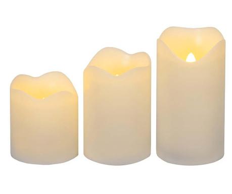 Комплект 3 свещи с LED-лампички Yaza