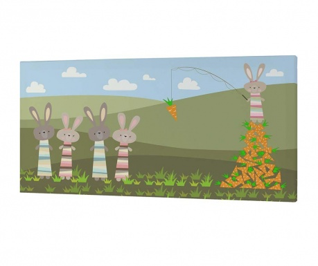 Tablou Little Rabbits Carrots 27x53 cm