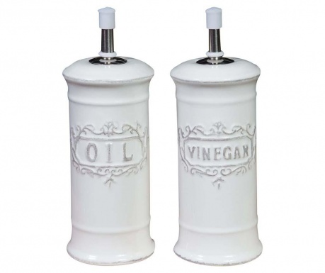 Set of 2 containers for oil and vinegar White Lace