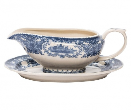 Sauce boat with holder Palace Blue