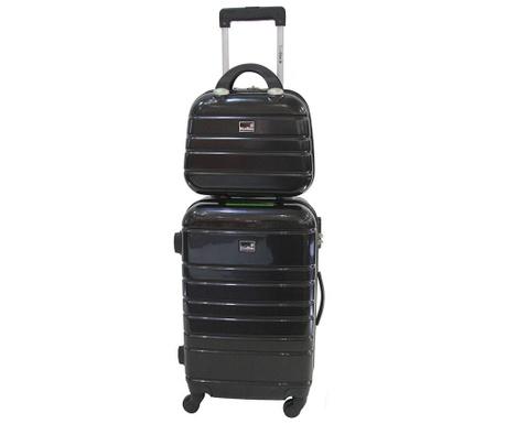Manhattan Black Gurulós bőrönd és kozmetikai táska