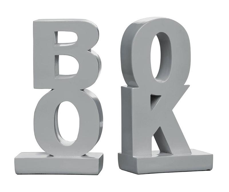 Set 2 držača za knjige Book Grey