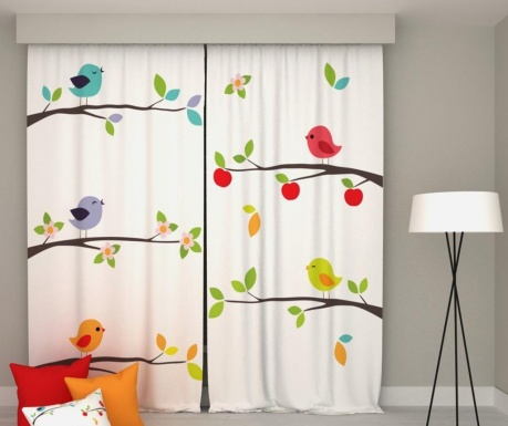 Set 2 zastorov Apple Birds 140x250 cm