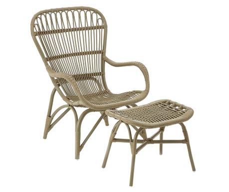 Комплект фотьойл за екстериор и табуретка за крака Havana Taupe