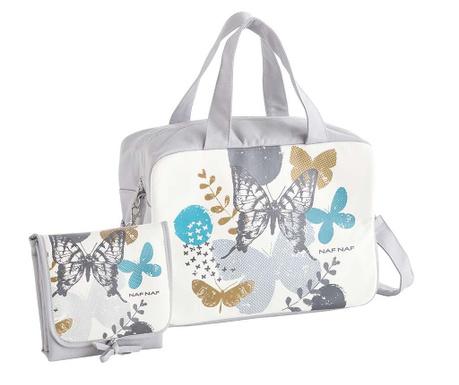Zestaw torba na pieluchy i składany przewijak Butterfly Grey