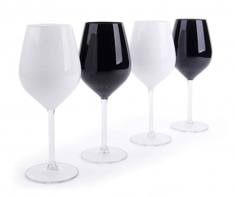 Set 4 čaše za vino Black & White 500 ml
