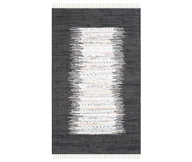 Covor tip pres Saltillo Ivory Black 90x150 cm