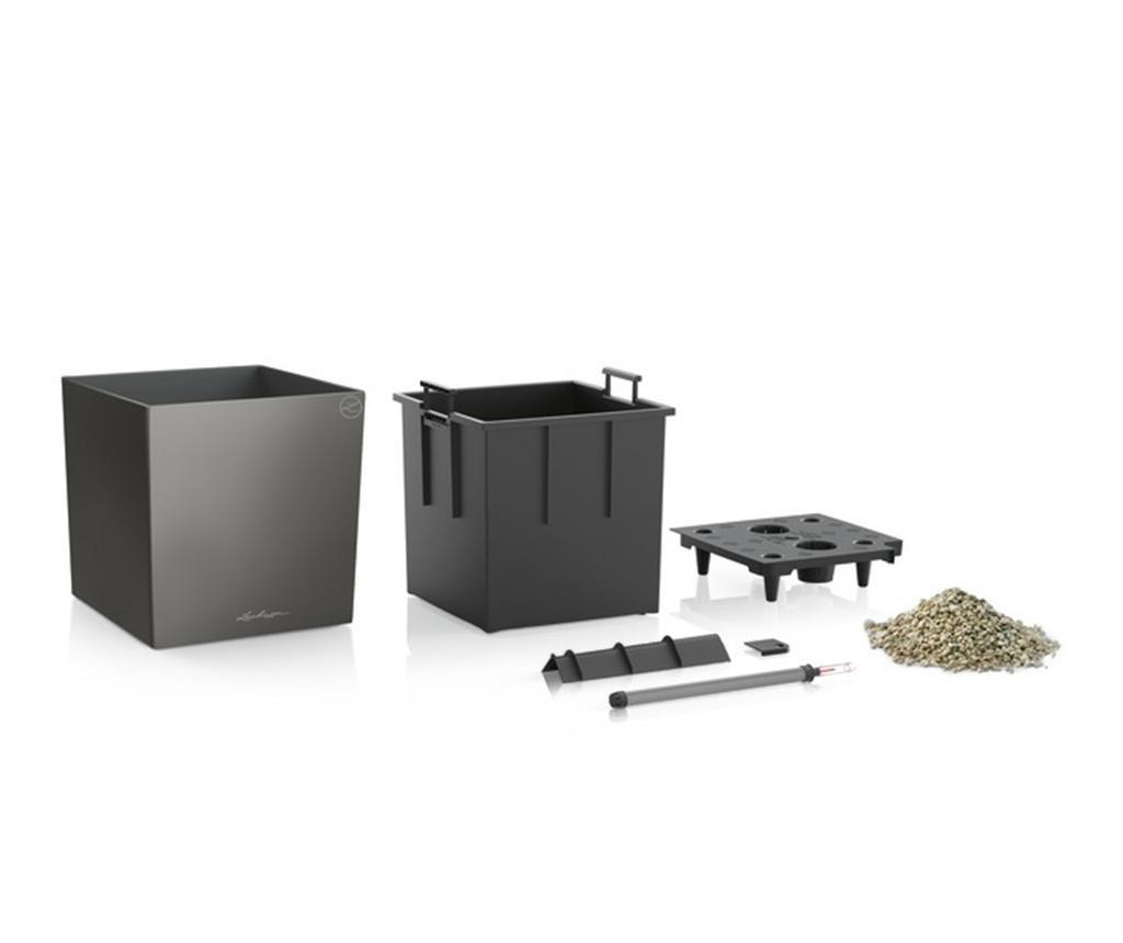 Set - cvetlični lonec z avto-namakalnim sistemom in držalo Cube Premium Dark Grey S