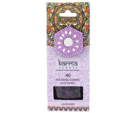 Set 40 conuri parfumate si suport Karma Lavander