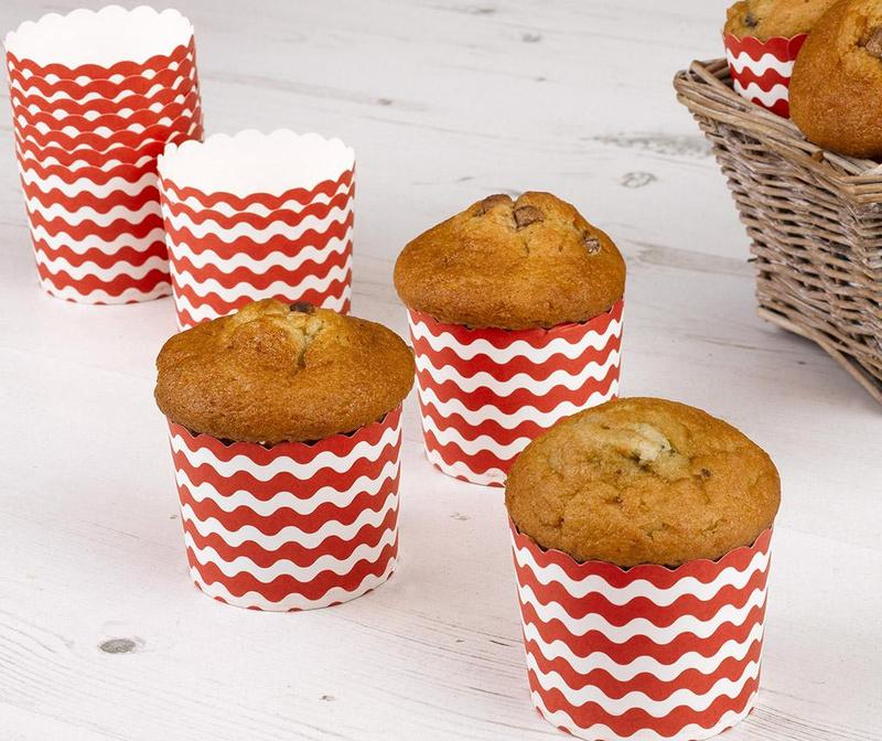 Set 24 papirnatih kalupa za pečenje muffina Waves Red