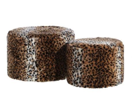 Sada taburet a podnožka Leopard Fluff