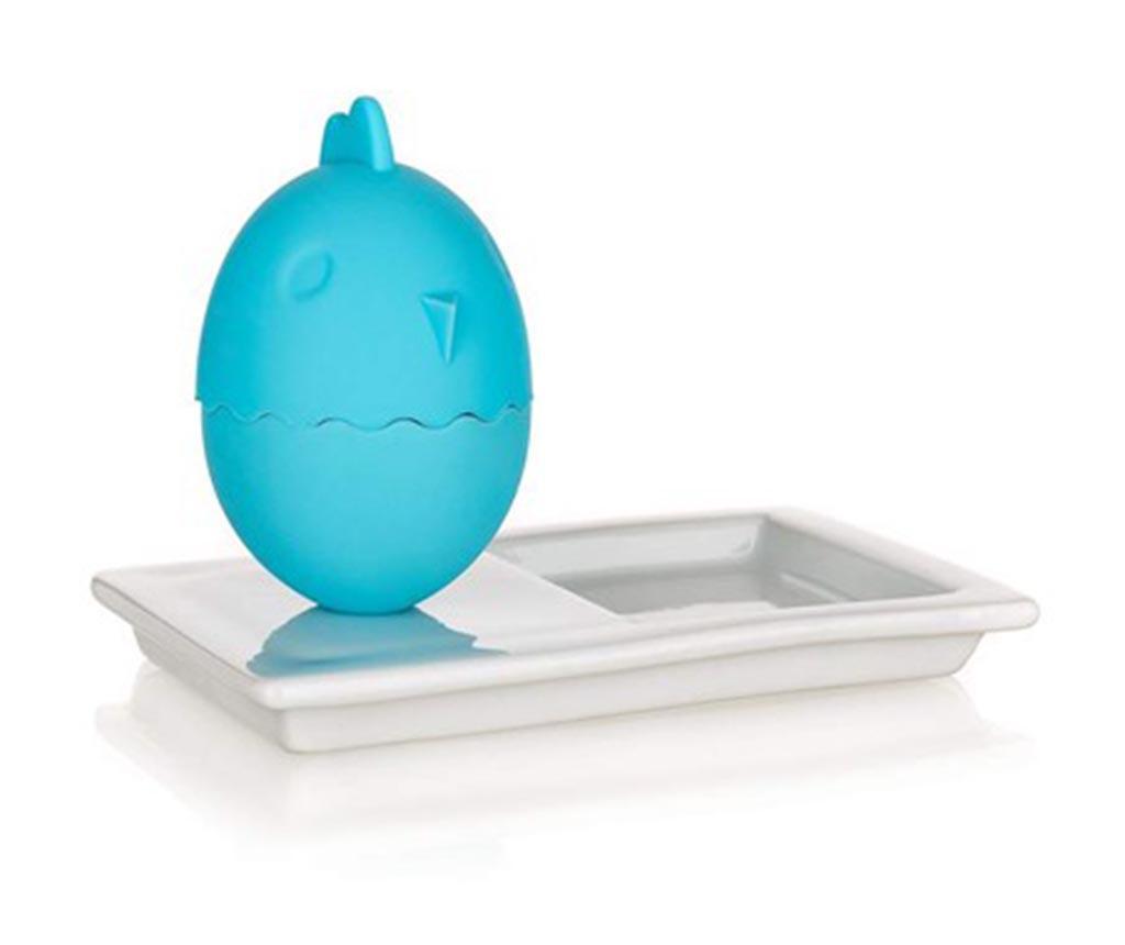 Set suport cu capac pentru ou fiert si farfurie Plus Blue