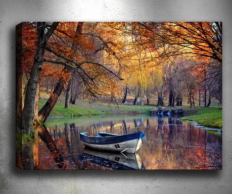 Tablou 3D Boat Lake 50x70 cm