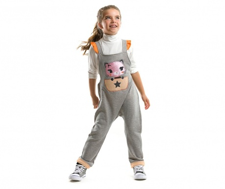 Set bluza si salopeta Cat Dungarre