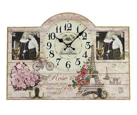 Стенен часовник с рамка за 2 снимки Rose