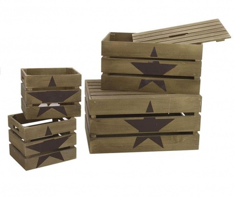 Sada 4 úložných krabic Army