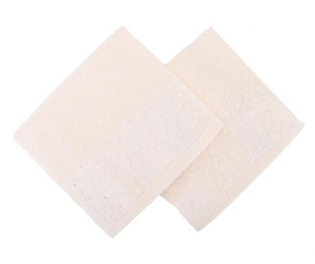 Set 2 prosoape de baie Papatya Cream 50x90 cm