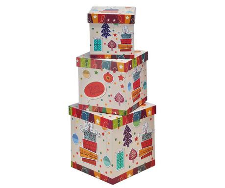Set 3 cutii cu capac pentru depozitare Merry Christmas