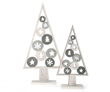 Set 2 dekoracija Silver Tree