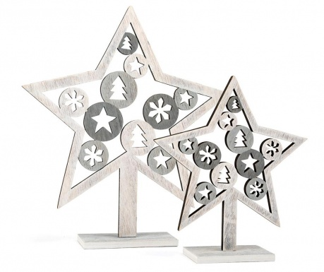 Set 2 dekoracij Silver Star