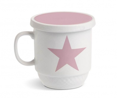 Cana cu capac si infuzor Pink Star 350 ml