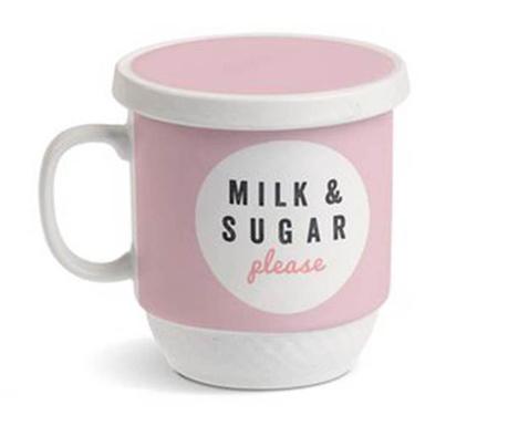 Cana cu capac si infuzor Milk Pink 350 ml