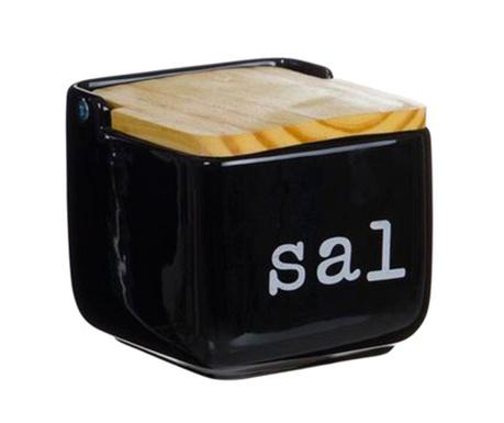 Recipient cu capac pentru sare Sal Black