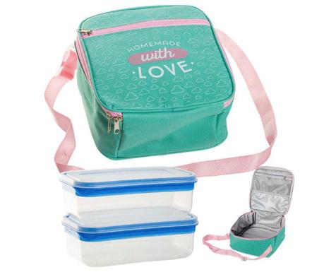 Set geanta izoterma pentru pranz si 2 caserole With Love Green