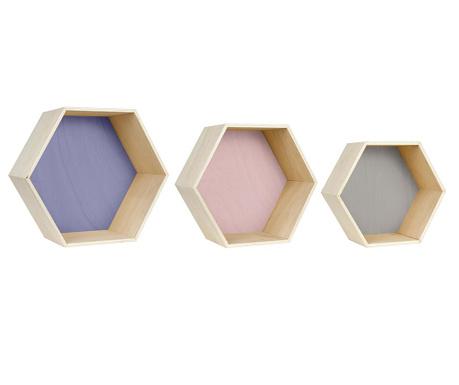Set 3 zidne police Hexa Blue Pink Grey