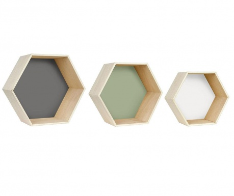 Hexa Grey Green White 3 db Fali polc