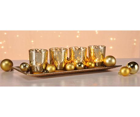 Zestaw 4 świeczników z podstawką Golden Feast
