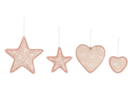 Комплект 4 висящи декорации Heart and Star