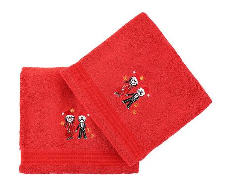 Christmas Couple Red 2 db Fürdőszobai törölköző 70x140 cm