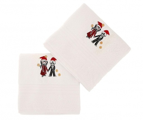 Set 2 prosoape de baie Christmas Couple White