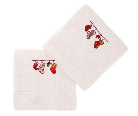 Set 2 kopalniških brisač Christmas Gifts White 50x90 cm