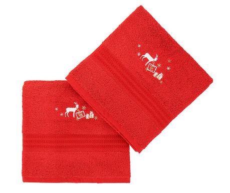 Set 2 kopalniških brisač Christmas Reindeer Red 50x90 cm