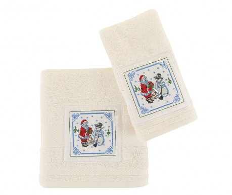 Set 2 prosoape de baie Santa and Snowman White