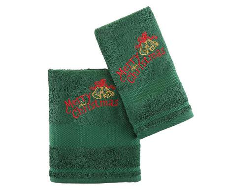 Set 2 kopalniških brisač Christmas Bells Green