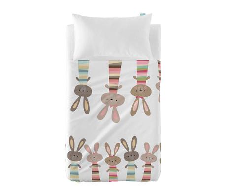 Детски комплект долен чаршаф и калъфка за възглавница Little Rabbits Extra Uni