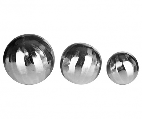 Set of 3 decorations Silver Globe