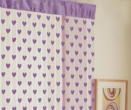 Záclona na dvere Hearts Liliac 90x200 cm