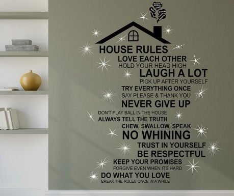 Naljepnica Rooftop House Rules English
