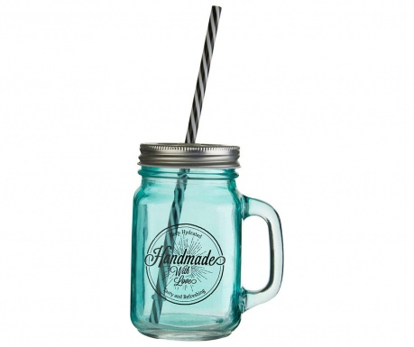 Skodelica s pokrovom in slamico Cocktail Blue 450 ml