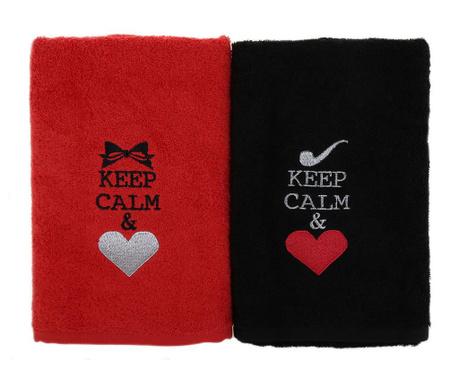 Keep Calm 2 db Fürdőszobai törölköző 50x90 cm