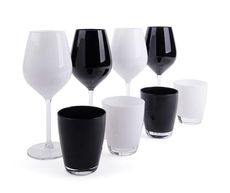 Set 8 čaša Faye Black & White