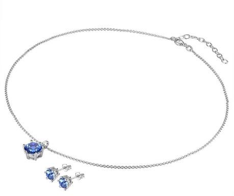 Blue Spark Fülbevaló és nyaklánc függővel